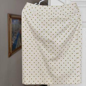 White Pencil Skirt with lemon green dot.